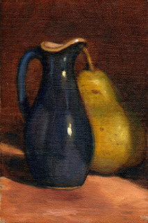 Oil painting of a small blue porcelain sauce jug beside a green pear.