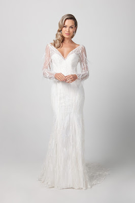 Michelle Roth Long Sleeve V-neckline Beaded feathered Bridal Dress