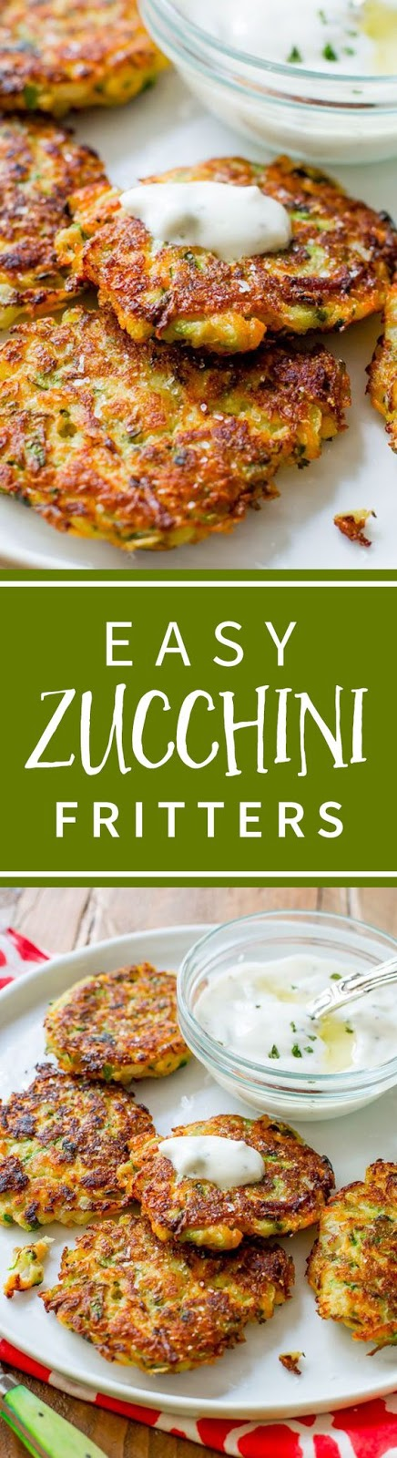 Zucchini Fritters with Garlic Herb Yogurt Sauce