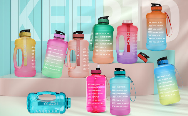 Stay Hydrated With KEEPTO Half Gallon Motivational Water Bottle
