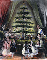 An illustration of an 1848 engraving showing the British royal family around their tree.