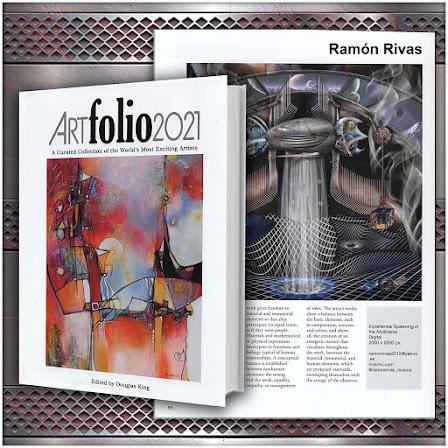 """El Libro Art Folio 2021 y la página 56, en donde se publica la obra de Ramón Rivas """"Experiential Spawning in the Multiverse"""" / Mixed media - Rivismo / 195 x 195 cm."""