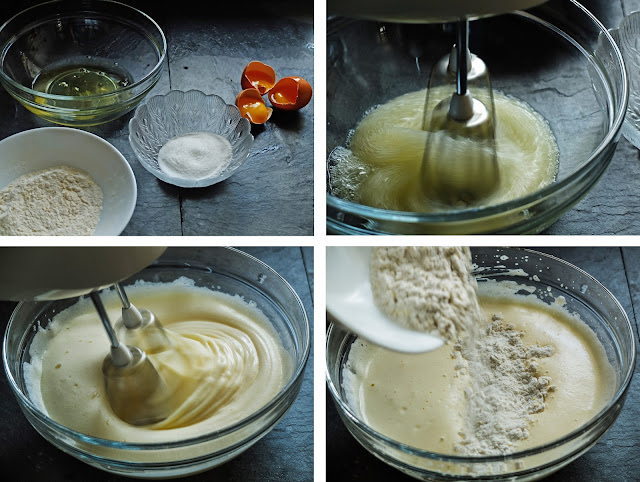 Collage of images showing ingredients and whisking in a bowl to make swiss roll batter.