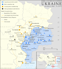 Map of rebel control in Ukraine in 2015, showing the areas claimed by the breakaway Donetsk and Lugansk People's Republics.
