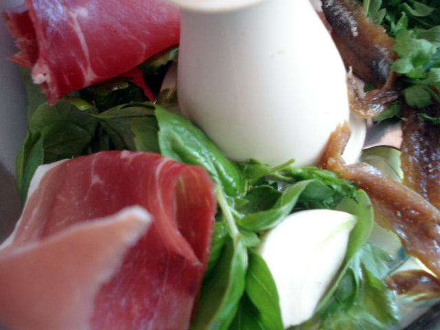 chop anchovy fillets, prosciutto, olive oil, garlic cloves, parsley and basil