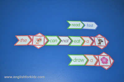 sight words game, silly sentences