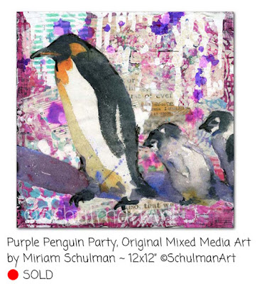 penguin art by miriam schulman | https://www.schulmanart.com