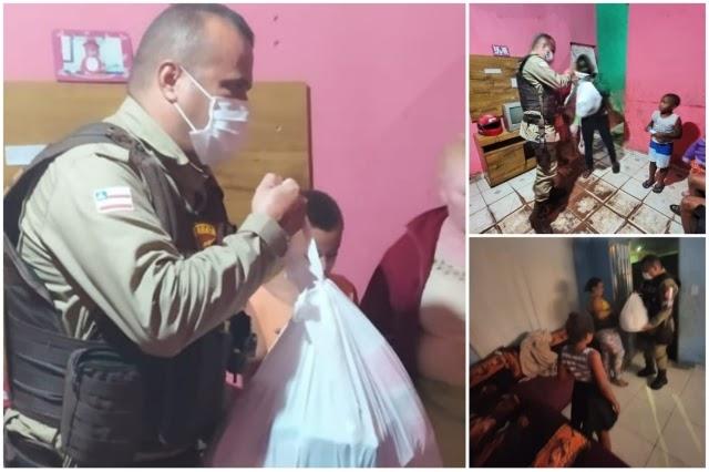 Policiais doam cestas básicas para famílias vulneráveis em Piatã