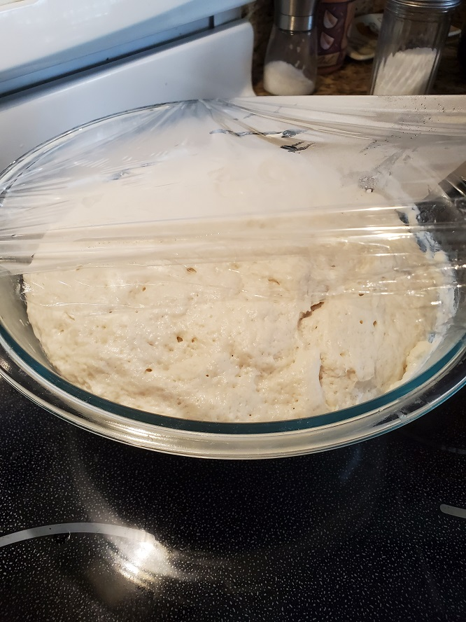 this is homemade pizza dough rising