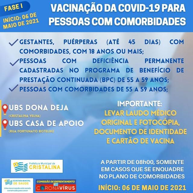 Pessoas com comorbidades já estão sendo vacinada covid-19 em Cristalina
