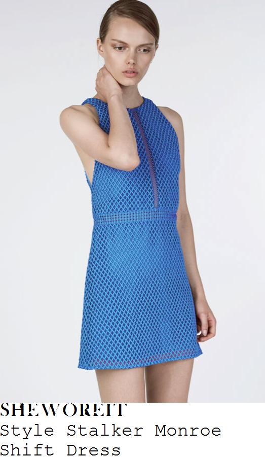 stephanie-pratt-style-stalker-monroe-electric-blue-sleeveless-sheer-mesh-insert-detail-textured-diamond-effect-overlay-a-line-shift-mini-dress