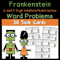 Frankenstein Word Problems using 3 and 4 Digit Addition and Subtraction