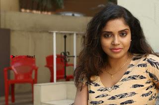 Telugu Actress Karunya Chowdary Stills in Short Dress at ATM Not Working Press Meet  0303.jpg