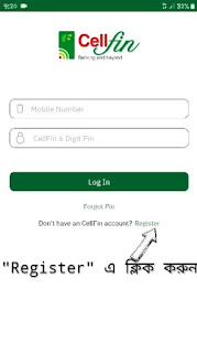 CellFin App Register Button