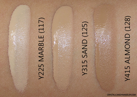Make Up For Ever Ultra HD Invisible Cover Foundation Swatch Y225 Y315 Y415