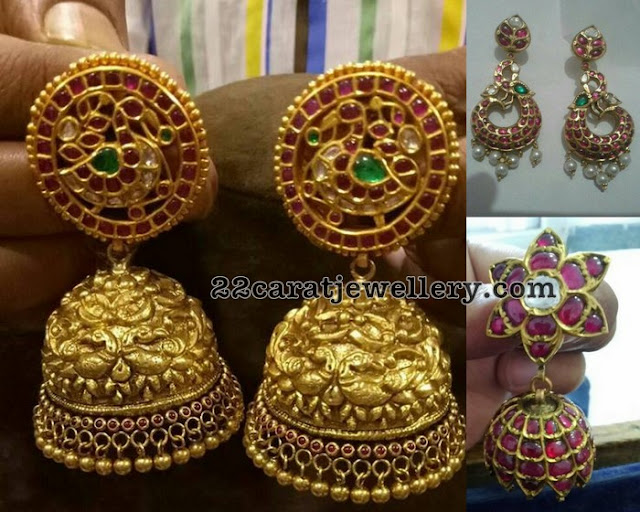 Kundan Work Ruby Traditional Jhumkas