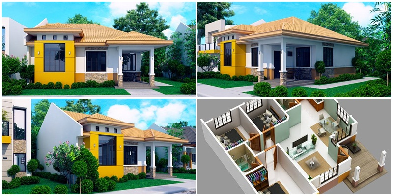 Myhouseplanshop Modern Bungalow House Plan With 3d Floor Plans And Firewall