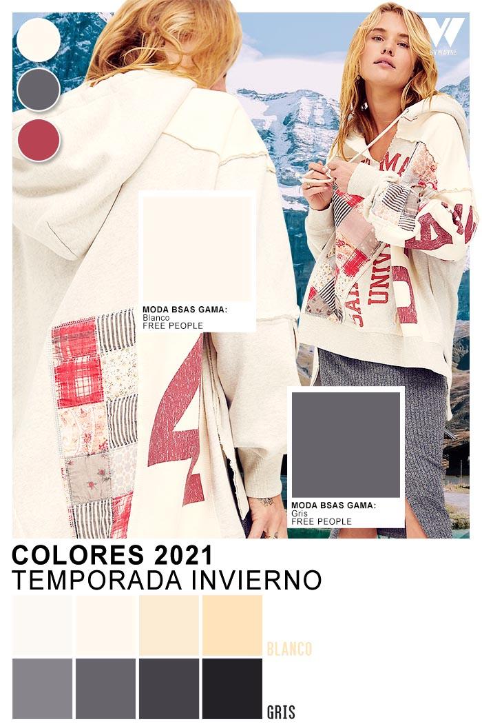 Look comfy moda invierno 2021 colores de moda gris blanco rosa
