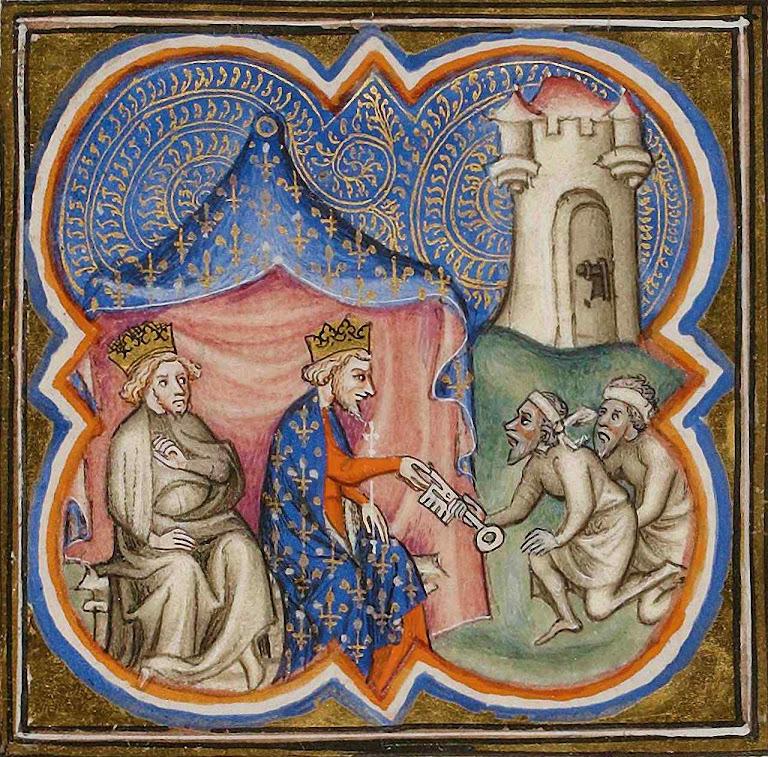 O rei Filipe Augusto recebe as chaves de Acre. Grandes Chroniques de France, Biblioteca Nacional da França, Manuscritos 2813