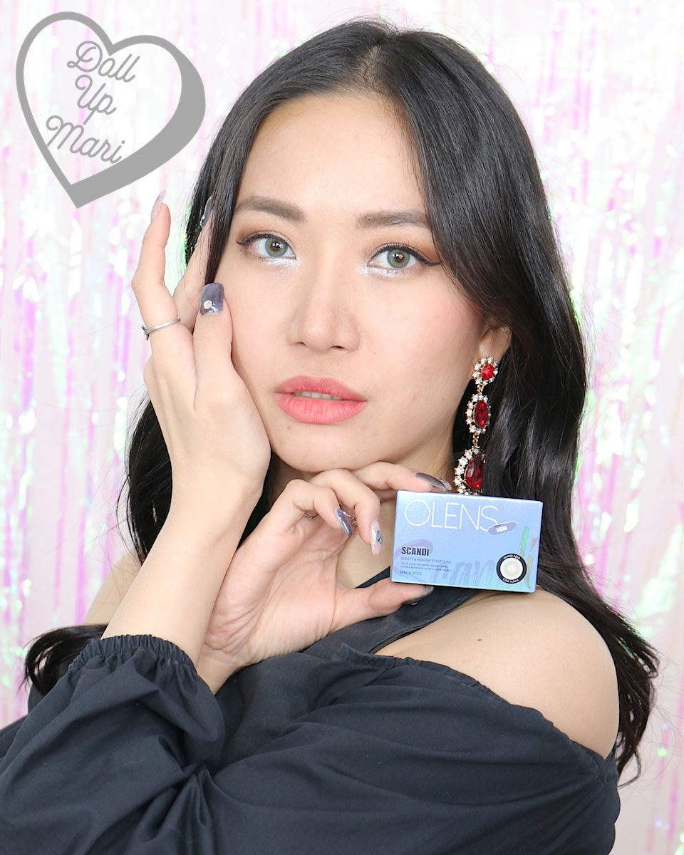 dollupmari wearing OLens Scandi Aqua BlackPink Contact Lenses