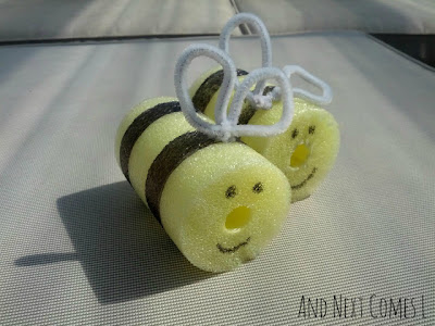Pool noodle bee craft for kids, plus a fun flying bee activity from And Next Comes L