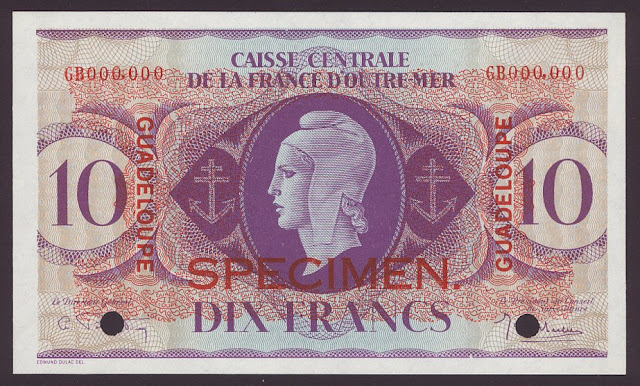 Guadeloupe banknotes 10 Francs Marianne World War currency money banknotes