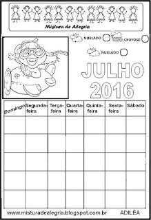 Calendário julho 2016 colorir
