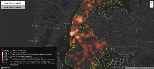 According to Amnesty International the New York City Police Department has access to 15,280 surveillance cameras around the city, all of which feed in