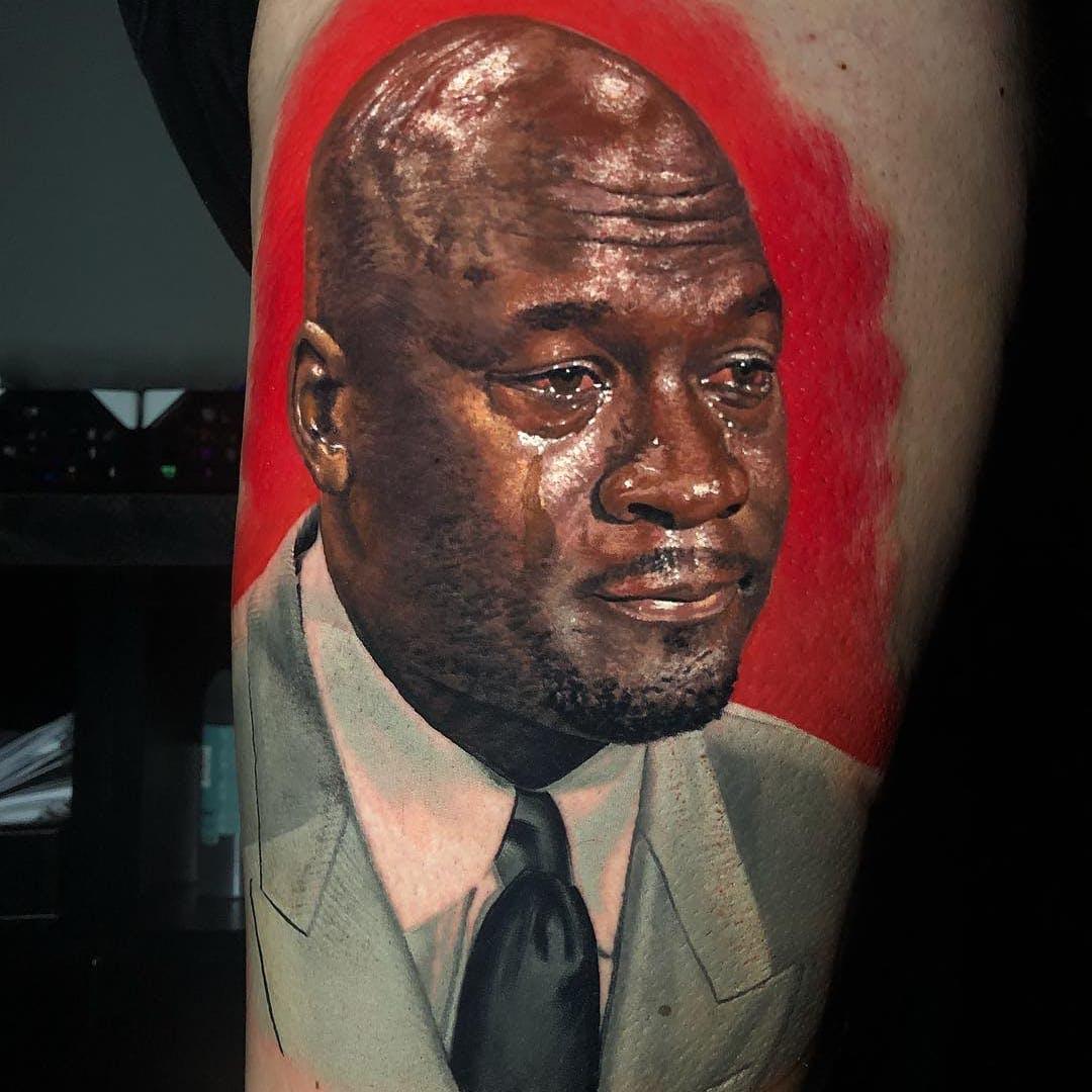 Tatuaje de hombre llorando por Steve Butcher #SteveButcher