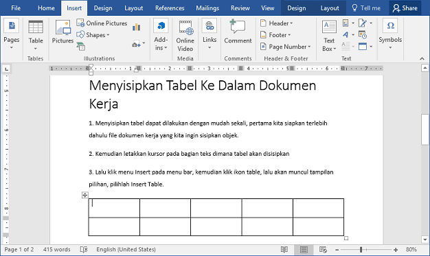 Table MS Word