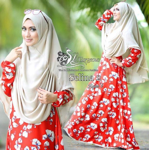Hijab Terbaru Baju Gamis Motif Bunga