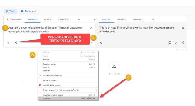 google traduttore riproduzione testo