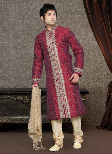 Red And Cream Dupion Kurta Pyjama