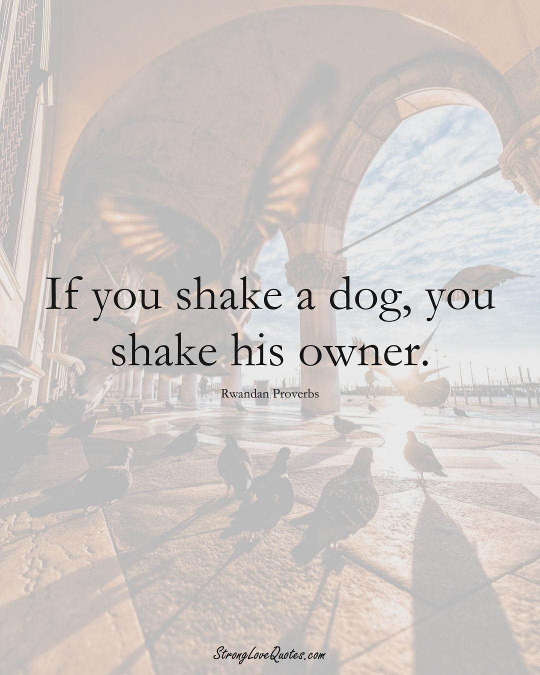 If you shake a dog, you shake his owner. (Rwandan Sayings);  #AfricanSayings