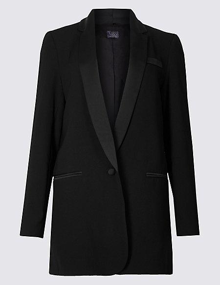 marks and spencer tuxedo style longline blazer