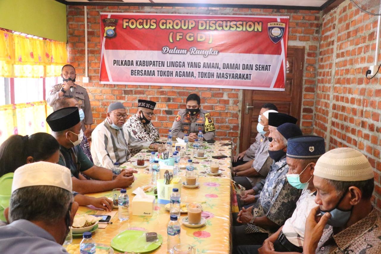 Polres Lingga Gelar FGD Dalam Rangka Wujudkan Pilkada Aman Damai Tertib dan Sehat di Kabupaten Lingga
