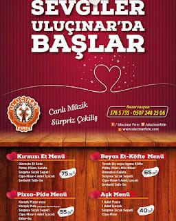 Uluçınar Fırın Ankara Sevgililer Günü Programı Menüsü 2020