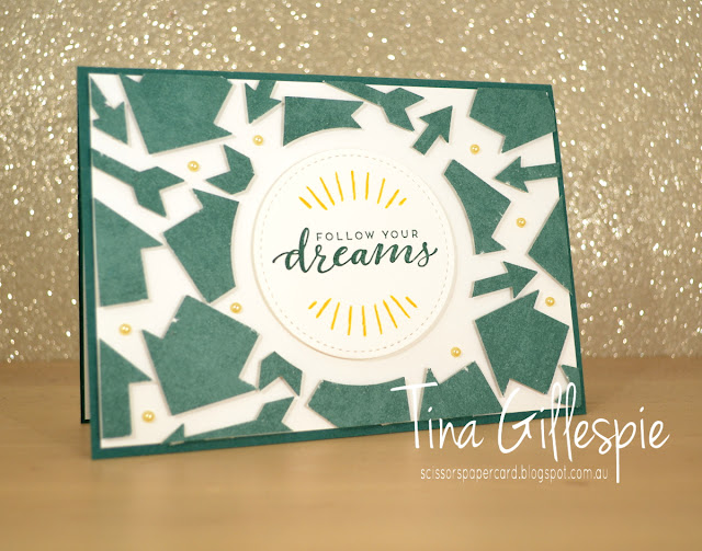 scissorspapercard, Stampin' Up!, Art With Heart, Colour Creations, Follow Your Dreams, Here Comes The Sun, Classic Garage DSP, Arrow Punch, Floating Frames