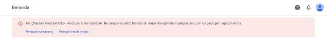 CMengatasi Masalah Ads.txt Google Adsense Blogger