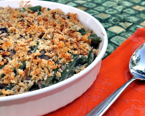 World's Best Green Bean Casserole ♥ AVeggieVenture.com. It's famous! Fresh beans! Fresh mushrooms! 100% Real Food and completely Thanksgiving-changing. Rave reviews! Recipe, step-by-step photos, nutrition and Weight Watchers points included.