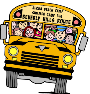 School bus cartoon. Bus is filled with happy campers who live in Beverly Hills. They are sitting inside the bus en route to Aloha Beach Camp!