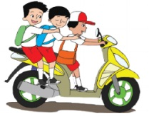 ilustrasi siswa sd membawa motor