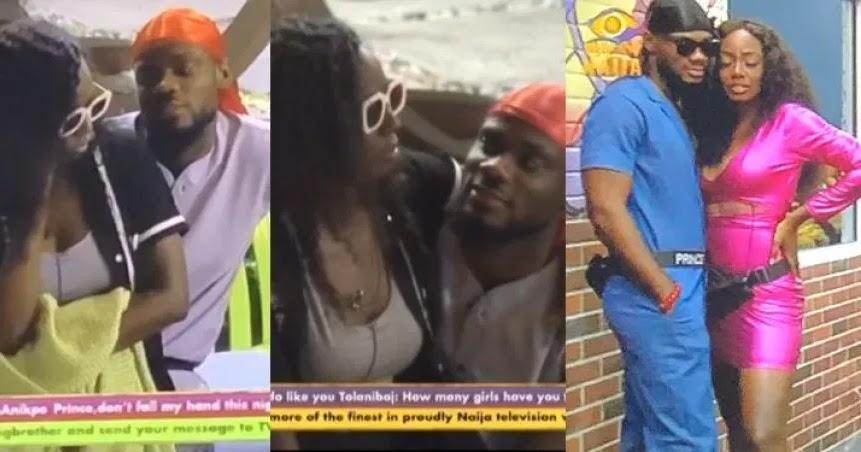 BBNaija 2020: Prince reacts as Tolanibaj accuses him of using her as 'strategy'   PEAKVIBEZ