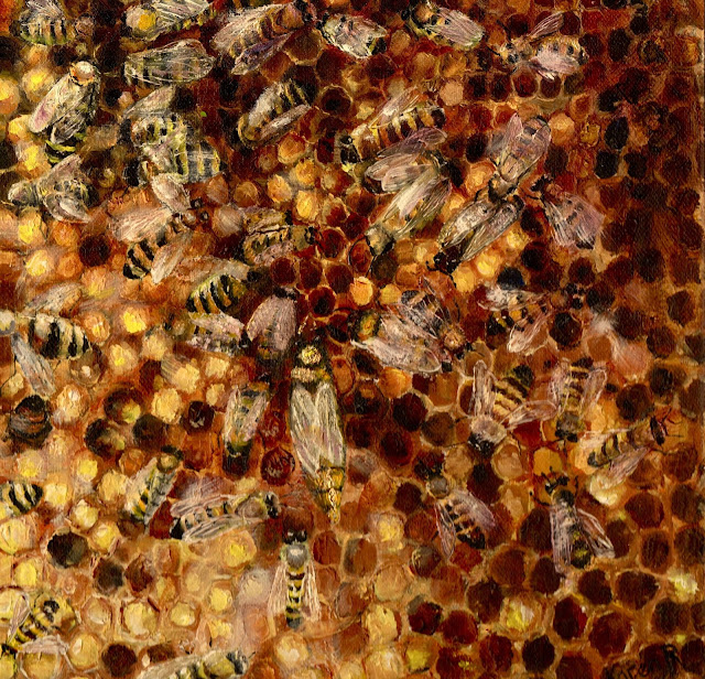 an oil painting of a frame of honey bees with the Queen visible
