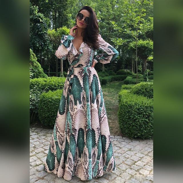 Μακρυμάνικο χρωματιστό φόρεμα HERA