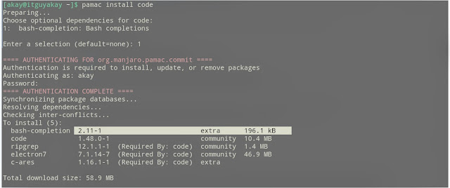 VS code installation in Arch Base Linux