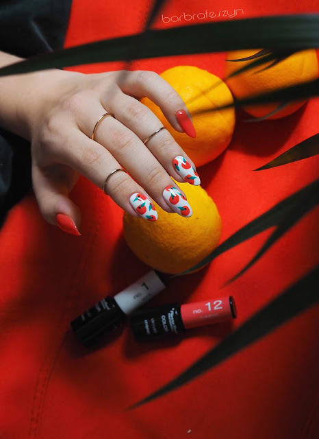 pomarańćze na paznokciach