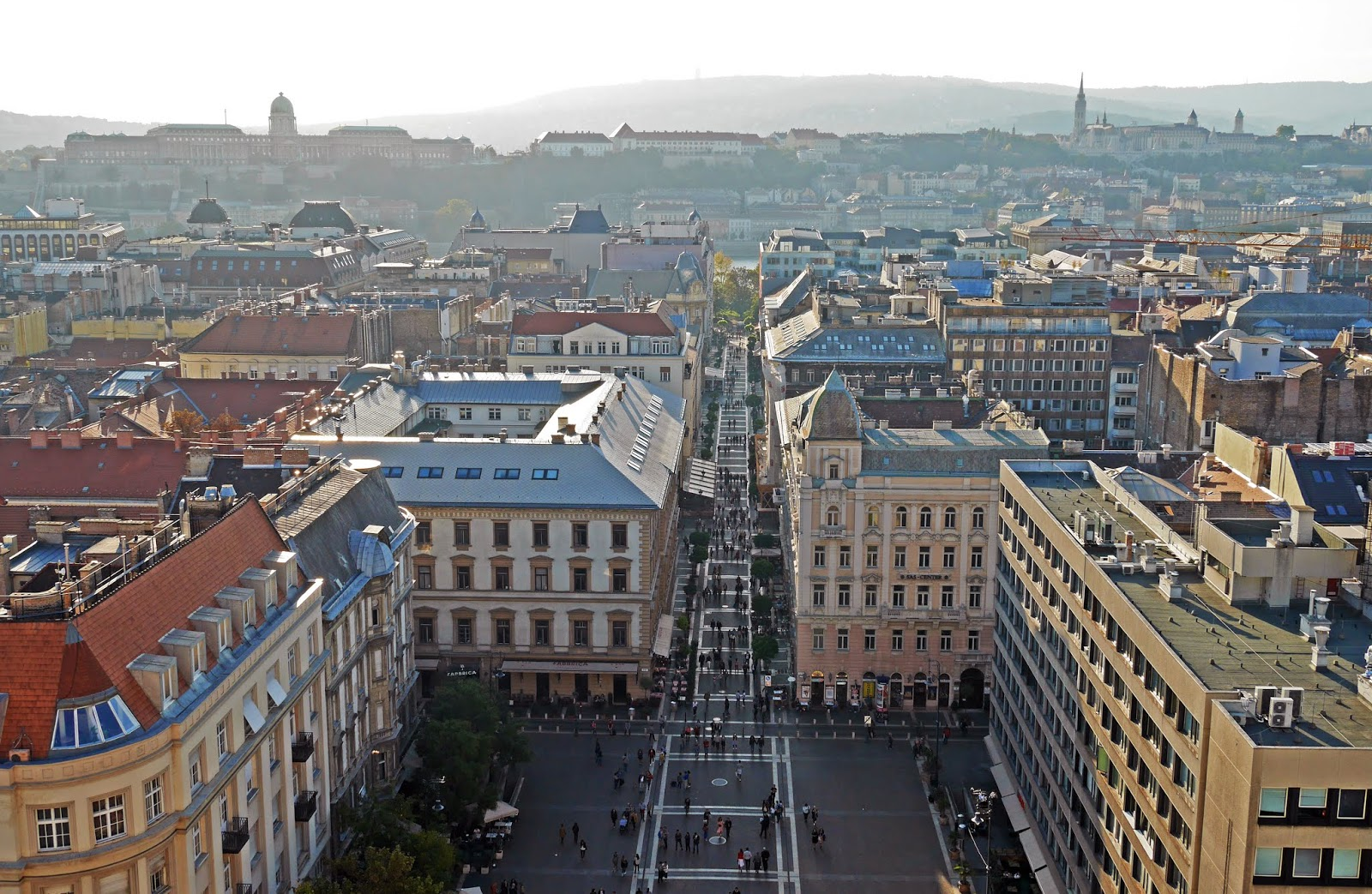Views from the St Stephen's Basilica observation deck in Budapest, Hungary