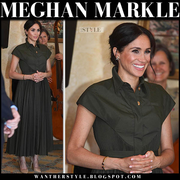 Meghan Markle in khaki green pleated shirt dress brandon maxwell royal tour australia outfits october 16