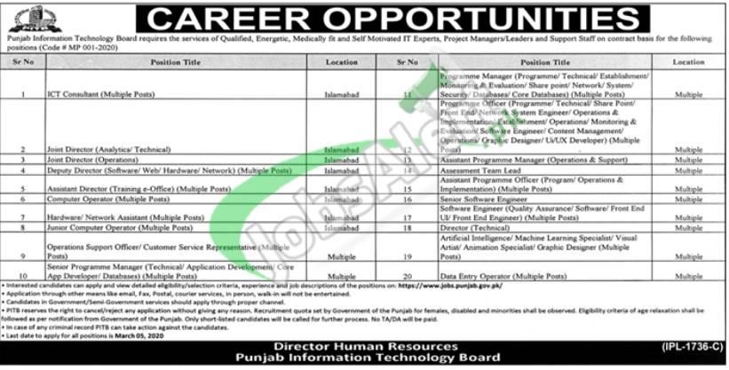Jobs in Punjab Information Technology Board 2020